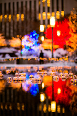 colorful lights at temple square (Sam Scholes) Tags: christmas trees holiday tree water beautiful digital festive lights utah pond nikon colorful candles bokeh led saltlakecity templesquare d800 reflectionpond reflectingpond