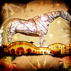 One Horse Town no.154 (dek dav) Tags: horse music abstract color art colors rock collage digital photoshop project one town photo lyrics mixed media artist arty song journal band surreal manipulation indie deviant 365 concept thrills alternative the