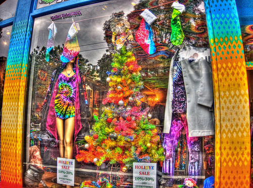 Tye Dye Christmas Tree with a Jerry Garcia Doll on the Top, HDR
