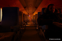 Red Eye II (/ shadows and light) Tags: selfportrait plane dark cabin winnipeg foreboding aircraft eerie manitoba seats passenger tca selfie jetage transcanadaairlines vickersviscount757 westerncanadaaviationmuseum