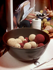 new beads (difsus) Tags: ikea beads handmade progress bowl crocheted crocheting dinera