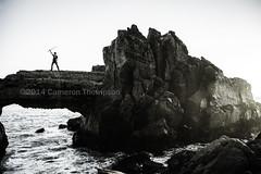 Awesome (SW23CT (CamsDigitalCanvas.com)) Tags: ocean california bridge boy sunset man silly beach water monochrome rock crazy arch awesome pch highway1 sword cody katana camarillo mugu cdc 2014 mugurock ptmugu achromatic nikond7100 muguarch