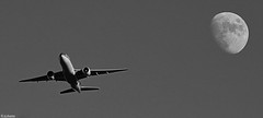 Plane and the Moon! (vjdj69) Tags: moon white black plane vision:outdoor=099