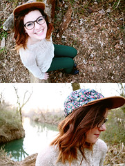 (sonnishine) Tags: trees portrait cute nature girl beautiful hat leaves fashion diptych style indie teenager birdseyeview alternative sonni yeanice ihatetaggingsomuch