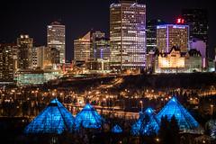 Edmonton - ATB light [Explored] (WherezJeff) Tags: lighting blue canada tower skyline night hotel dallas edmonton purple conservatory led alberta nightshots financial fairmont atb mcdonald muttart yeg vision:sky=0917 vision:dark=0811