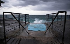 Welcome to the storm (Tomislav C.) Tags: sky storm beach nature weather stairs fence coast dangerous rocks waves wind croatia wave windy stormy rough adriatic naturally severe rijeka sea