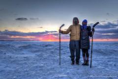 Lake Michigan Winter ... bring it! (Ken Scott) Tags: winter sunset usa snow cold ice leland michigan lakemichigan greatlakes february hdr freshwater sunflare facemask 2014 leelanau 45thparallel katieandfriend