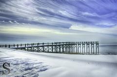 Snowy pier  on Gulf Beach- (Singing With Light) Tags: morning ice beach fog photography pier gulf pentax january 8 february k3 2014 ctwinter gulfbeach miilford lismanlanding singingwithlight singingwithlightphotography