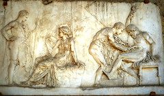 marble relief,  89BC, depicting Achilles, in the presence of his mother Thetis, treating the wound of the Mysian king, Telephus (jjamv) Tags: travel italy sculpture art heritage texture archaeology architecture greek temple volcano oracle earthquake ancient ruins europe italia campania roman statues troy charm grace unescoworldheritagesite unesco worldheritagesite tragedy serenity animation pompeii napoli naples vesuvius skeletons vesuvio archeology mythology sculptures neoclassicism italie achilles romanempire 79ad eruption thetis textured pompei ercolano napels frescoes odysseus terremoto archeologia scavi telephus vesuvianarchaeology 79dc 24august79ad jjamv neoattic julesvtravel atticizing ercolanoscavi14march2014 herculaneun