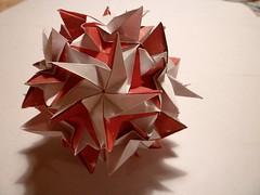 Mineraline (Zapper Slapper) Tags: red white art paper origami handmade craft modular reverse engineered artisan folding kusudama mineraline