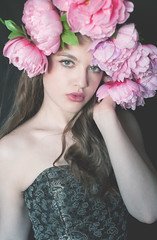 Lucy (lucrecia lee) Tags: flowers portrait girl beautiful beauty face fashion bigeyes glamour hand gorgeous greeneyes f blonde redlips gown graceful youngwoman younggirl glamorous fulllips thickeyebrows