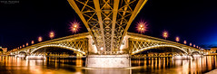 Under the Margaret bridge (Faalma) Tags: city longexposure bridge blue light panorama black reflection water yellow night river nikon hungary budapest perspective sigma duna buda pest d7000 bestcapturesaoi elitegalleryaoi