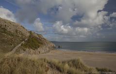 Barafundle Bay Beach (SarahO44) Tags: uk sea beach wales clouds canon bay sand unitedkingdom dunes united kingdom artificial lilly ponds pembrokeshire stackpole bosherton headland 6d barafundle