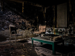 Monaca, PA: The Lounge (Entropic Remnants) Tags: pictures abandoned archaeology fire photography industrial fuji image pics pennsylvania picture pic images pa photographs photograph r fujifilm lm archeology remnants burned xf ois monaca entropic f3556 xt1 18135mm johngriggs entropicremnantscom