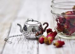 Tea Time (kkirby864) Tags: tea teapot teainfuser rosebuds jar table shallowdepthoffield
