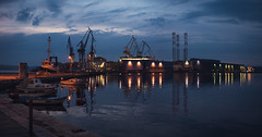 Uljanik shipyard (matej.duzel) Tags: uljanik shipyard dusk naval leica low light gh4 night dark cinematic water sea reflections adriatic pula croatia boats ship calm