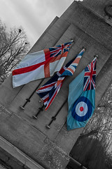 The Cenotaph (Travis Pictures) Tags: bourne southkesteven southlincolnshire lincolnshire fenland warmemorial england brit uk spring outdoors outside britain nikon d5200 photoshop selectivecolour blackandwhite monochrome flags unionflag whiteensign unionjack cenotaph