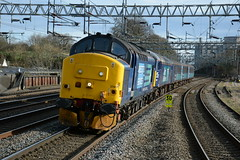 37419 and 57002 Rugeley Trent Valley 08/03/2017 (Brad Joyce 37) Tags: 37419 57002 class37 class57 5z24 drs directrailservices rugeleytrentvalley station shortset mk2 ecs train passenger