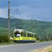 Der ehemalige Rhein-Haardtbahn-Zug ET6/EB6 1014/1054 auf der malerischen Überlandstrecke der Linie 11 zwischen Ghioroc und Sambateni