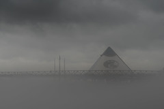 Ghost Pyramid (sumnerbuck) Tags: memphis pentaxk1 pyramid fog bassproshops bw