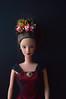 Kanzashi for Barbie: Crown of holly. (Bright Wish Kanzashi) Tags: tsumamikanzashi hanakanzashi tsumamizaiku hanamde handmade original design flowercrown barbie doll etsy commission