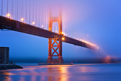 Bridge of Bridges (Allard Schager) Tags: sf sanfrancisco california longexposure nightphotography bridge blue red usa mist fog proud architecture america spring nikon downtown nightshot symbol unitedstatesofamerica landmark icon structure illuminated sparkle goldengatebridge le bayarea april vista strong sanfranciscobay bluehour nikkor amerika majestic lente powerful iconic suspensionbridge span gettyimages 1937 californie vantagepoint tollbridge californiastateroute1 megastructure 100faves 2013 200faves singleraw d700 usroute101 nikond700 nikkor2470mmf28 curvecurved nikonfx allardone allard1 fullframepower allardschagercom