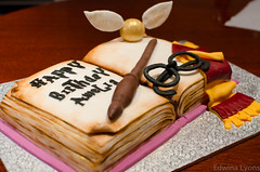 Harry Potter Cake (Ed O_o) Tags: birthday cake 35mm gold book nikon paint pages wand harry potter dust nikkor edible snitch fondant gryffindor 18f d7000