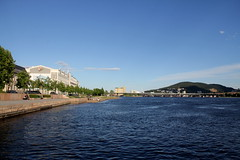 Drammen, Buskerud, Norway (Lise-Marie Photography) Tags: city bridge blue summer sky water norway river town warm day hill clear riverbank freshwater drammen aasbryggeri