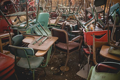 (Erin Watson/Abandoned Exploration) Tags: old school urban abandoned canon chair education colorful photographer sad legs chairs decay seat exploring forgotten pile exploration ue tangled haveaseat 2013 erinwatson erinwatsonphotography theresalwaysachair
