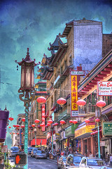 San Francisco Chinatown (Cat Girl 007) Tags: california street city urban texture vertical architecture manipulated vintage buildings asian outdoors photography downtown chinatown cityscape dragon streetlamp landmark lanterns lonelyplanet oriental sanfranciso hdr sincity nationalgeographic chineseculture colorimage traveldestination chineseethnicity texturebykerstinfrankart