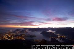 Pilatus Fullmoon and Sunrise Hike (stefanrechsteiner) Tags: city panorama moon lake night sunrise canon lights schweiz switzerland view suisse full pilatus lucerne rigi 50d canoneos50d canon50d