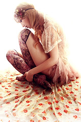 Floral Dream (ILINA S.) Tags: flowers light red woman floral girl fashion socks female hair women sitting lace profile textile fabric blond lookingdown wavy headband