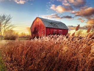 Sunset at the barn at High Point School, Ann Arbor, MI