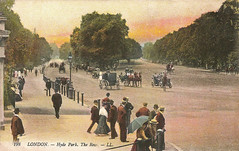 Hyde Park (Leonard Bentley) Tags: uk horses london cars umbrella traffic parasol pedestrians hydepark metropolitan rottenrow 1905 boaters canonrow cannonrow decimusburtonscreen southcarriageroad leonandlevy