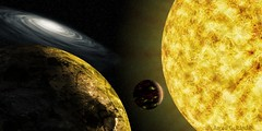 Near and Far (The Infamous Blue Tie) Tags: fiction sun hot cold stars fire scenery space scene science galaxy planet planets molten