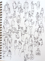 Sketching People:At the mall, just before Christmas, San Jose, california (suhita1) Tags: christmas people mall suhita peoplestudies urbansketch
