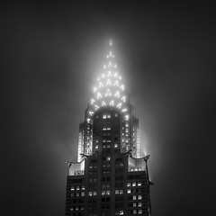 Chrysler Building - Stainless Steel In Fog (Mabry Campbell) Tags: nyc newyorkcity november light blackandwhite bw usa ny newyork black detail building fog architecture night square photography lights us photo photographer unitedstates image fav50 top manhattan unitedstatesofamerica fineart foggy 85mm nopeople fav20 photograph commercial crown chryslerbuilding fav30 squarecrop 2012 fineartphotography architecturalphotography vanalen newyorkcounty commercialphotography fav10 fav100 fav200 fav40 ef85mmf18usm fav60 architecturephotography fav90 fav80 fav70 houstonphotographer mabrycampbell