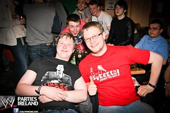 "Mark K. Doyle rocking his ""Succeed"" shirt at a Royal Rumble viewing in Dublin"