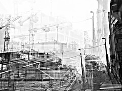 urbanized (Joelstuff V4) Tags: cameraphone abstract building art mono sketch