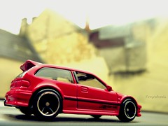 VTEC subcompacted (tonywheels) Tags: red hot japan honda toy miniature wheels hotwheels 164 civic diecast vtec japonaise subcompact japancar