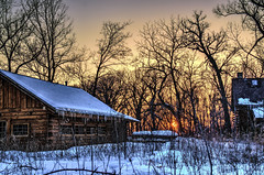 HCS - Winter Sunset edition (Wes Iversen) Tags: trees nature illinois thegrove sunsets hdr glenview hcs logcabins nikkor18300mm clichsaturday