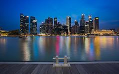 Metropolitian Blocks (JoonWeh) Tags: blue water architecture night canon buildings landscape lights singapore long exposure cityscape hour
