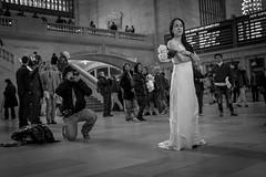 Grand Central Bride (Levinator25) Tags: new york city nyc blackandwhite newyork fuji streetphotography finepix fujifilm f28 streetphotographer fujix x100s