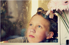 Tove (Fagerbacka) Tags: flower girl sweden swedish dirtywindow hairrollers