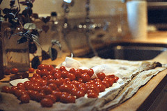 (Elizabeth Kabakjian) Tags: light red summer food color film kitchen vegetables 35mm spring counter tomatoes cloth expired