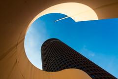 Peeping Tom (fidgi) Tags: blue shadow sky tower architecture canon torre tour lyon ombre bleu ciel ocre tourdelapartdieu canoneos5dmk3