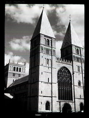 Southwell Minster (pho-Tony) Tags: camera old red sky blackandwhite bw cloud 3 120 film church vintage dark ir 645 skies cathedral f45 made filter 1950s infrared roll british medium format halfframe veteran ilfordsfx minster bellows folder ilford folding epsilon ensign redfilter darksky sfx southwellminster 145 1620 darkskies 75mm southwell ilfosol fauxinfrared sfx200 ilfordsfx200 anastigmat 45x6 6cm selfix ensar 45cm britishmade ensignselfix1620 ilfosol3 45cmx6cm multicamsource