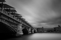Blackfriars Railway Bridge (MARK-SPOKES.COM) Tags: uk longexposure bridge england bw white black london monochrome thames architecture mono long exposure monotone nd blackfriars nd110