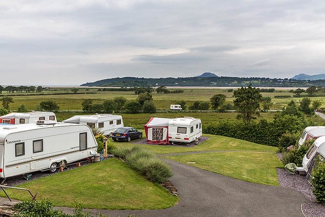 Tourers with Moel y Gest in Distance