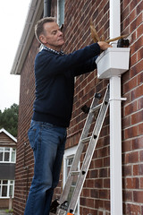 Blocked drain (CORGI HomePlan) Tags: gutter degutter clean cleaning man ladders diy keeping you safe corgi homeplan quality service bricks pipes outside outdoors back yard front garden stay safety first weather water wires leaves home house houses gutters brickhouse housework safetyfirst